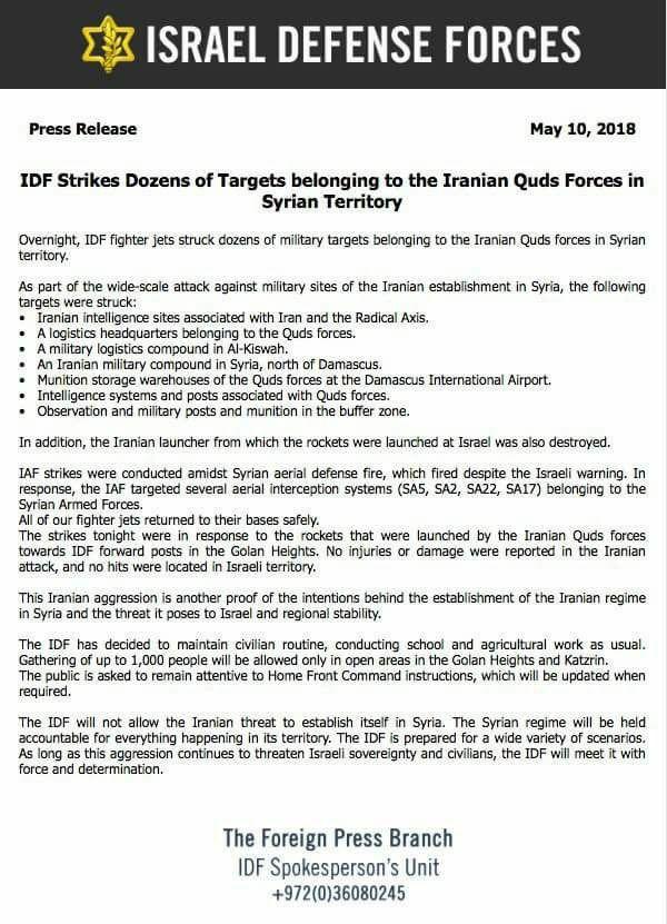 IDF Press Release